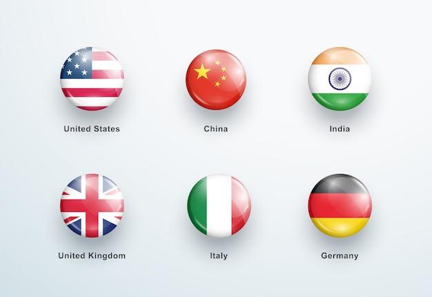 Set di icone pulsanti rotondi lucido bandiere nazionali Vettore Premium