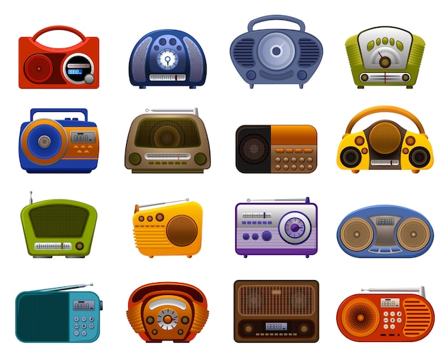 Set di icone radio. insieme del fumetto delle icone radio Vettore Premium