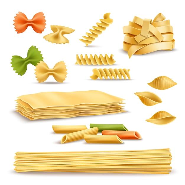 Set di icone realistiche assortimento di pasta secca Vettore gratuito