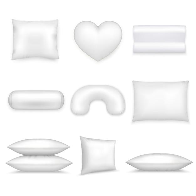 Set di icone realistiche di cuscini Vettore gratuito