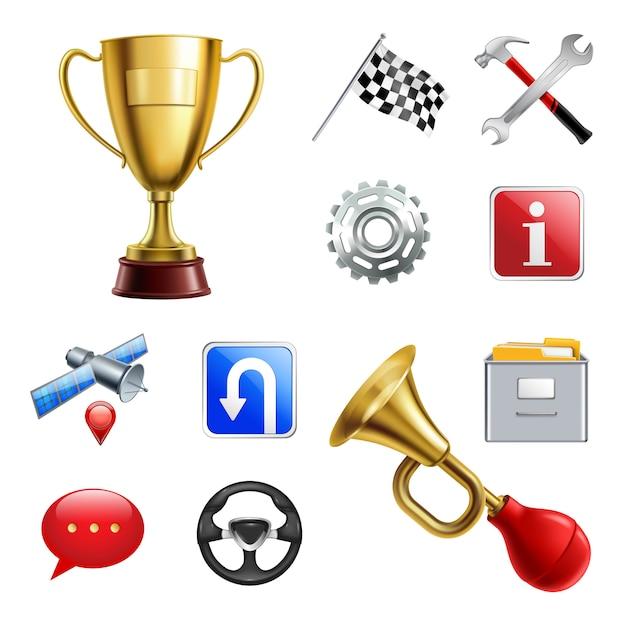 Set di icone realistiche gioco di corse Vettore gratuito