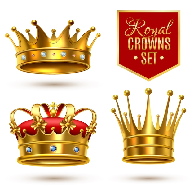 Set di icone realistico corona reale Vettore Premium