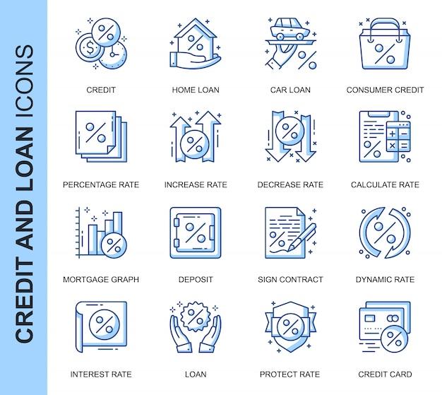 Set di icone relative a credito e prestito a linea sottile Vettore Premium