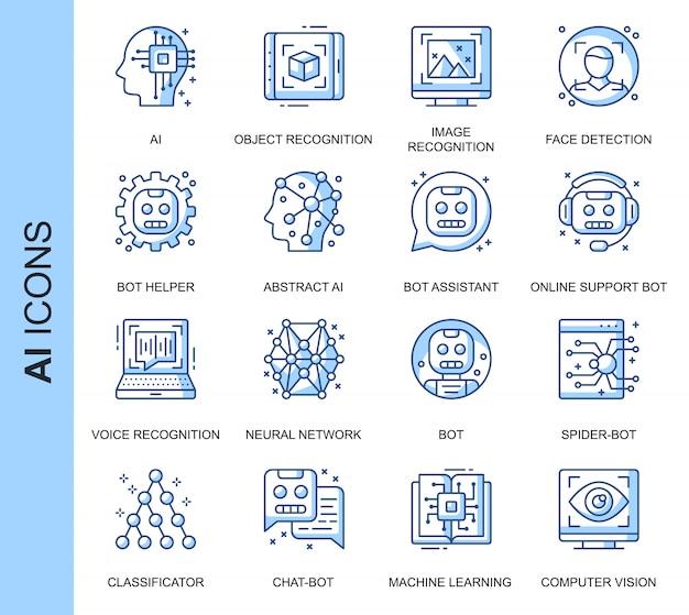 Set di icone relative a intelligenza artificiale di linea sottile Vettore Premium