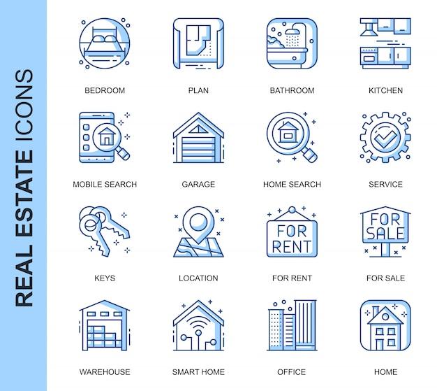 Set di icone relative al settore immobiliare di linea sottile Vettore Premium