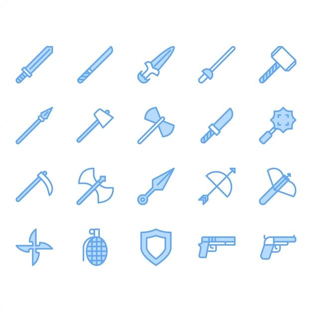 Set di icone relative alle armi Vettore Premium