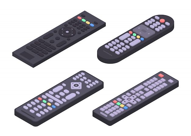 Set di icone remote, stile isometrico Vettore Premium