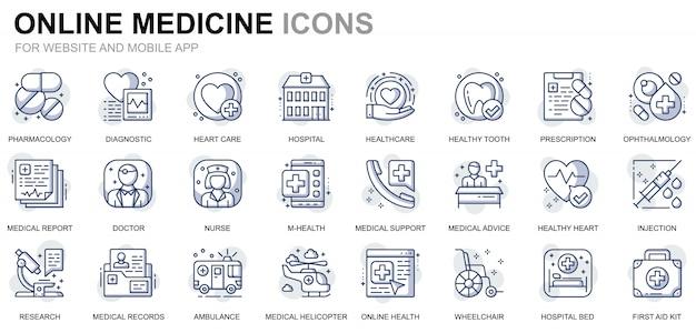Set di icone sanitarie e mediche di linea semplice per applicazioni per siti web e dispositivi mobili Vettore Premium
