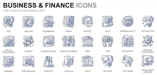 Set di icone semplici di affari e finanza per app per siti web e dispositivi mobili Vettore Premium