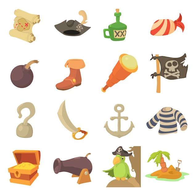 Set di icone simboli cultura pirata Vettore Premium