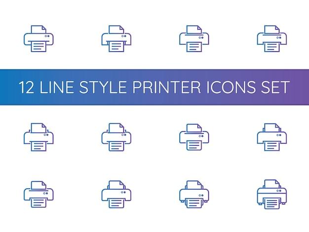 Set di icone simbolo della stampante Vettore Premium