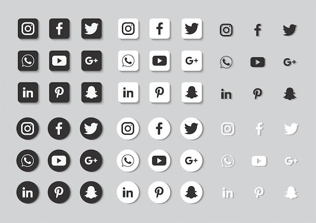 Set di icone social media isolato su sfondo grigio. Vettore Premium