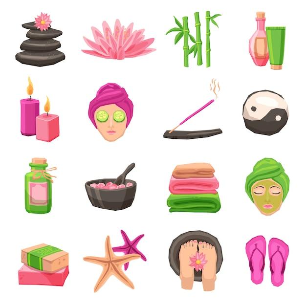 Set di icone spa Vettore gratuito