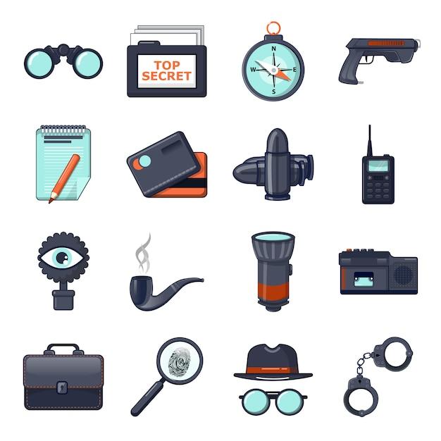 Set di icone spia Vettore Premium