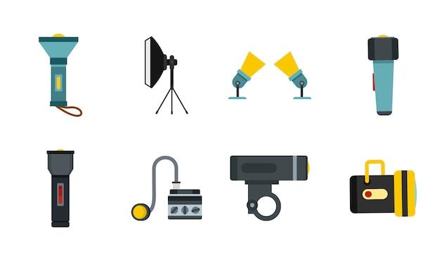 Set di icone spotlight. insieme piano della raccolta delle icone di vettore del riflettore isolato Vettore Premium