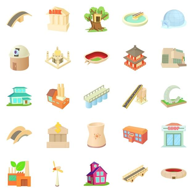 Set di icone strutturate, stile cartoon Vettore Premium