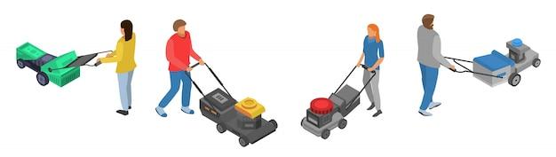 Set di icone tosaerba, stile isometrico Vettore Premium