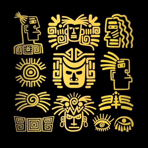Set di icone tribali viso, simboli dorati Vettore Premium
