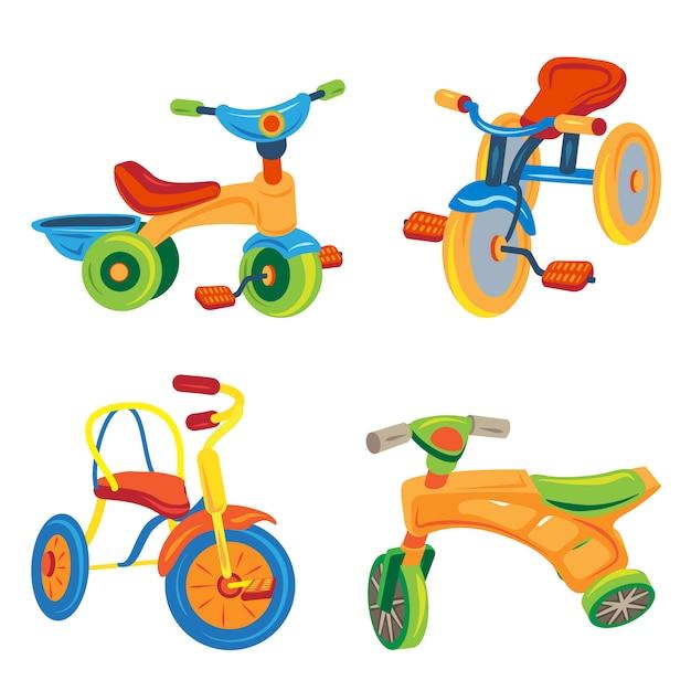 Set di icone triciclo. insieme del fumetto delle icone del triciclo Vettore Premium