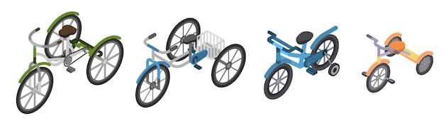 Set di icone triciclo. insieme isometrico delle icone di vettore del triciclo per il web design isolato su priorità bassa bianca Vettore Premium