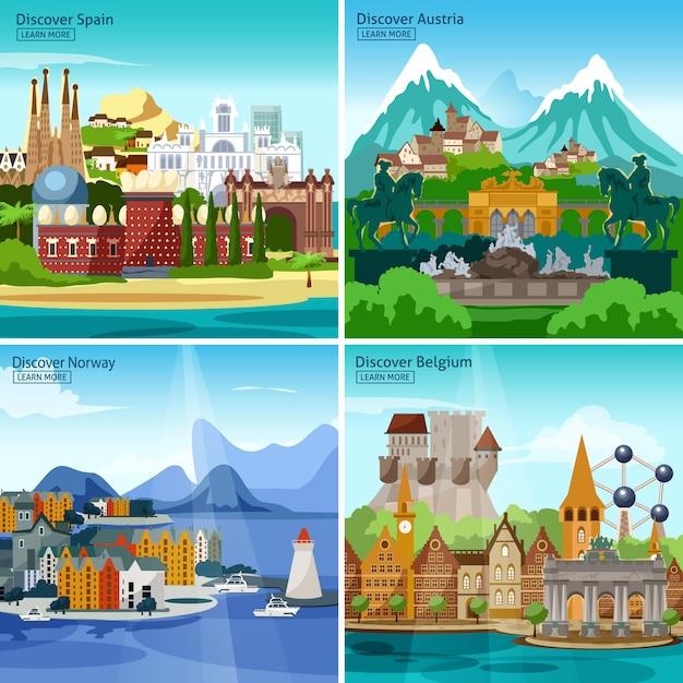 Set di icone turistiche europee Vettore gratuito