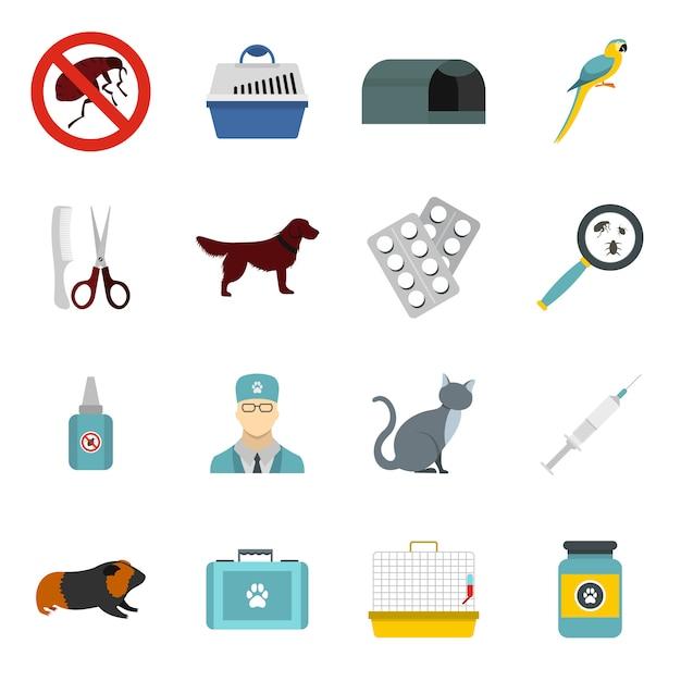 Set di icone veterinarie Vettore Premium