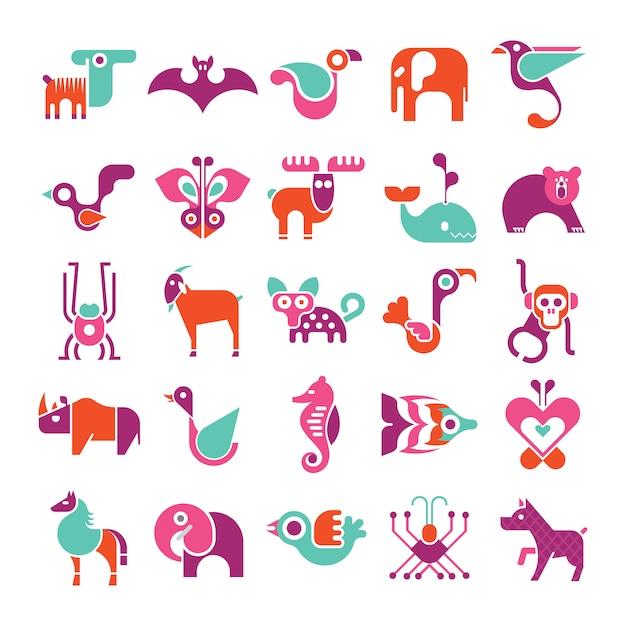 Set di icone vettoriali animali Vettore Premium