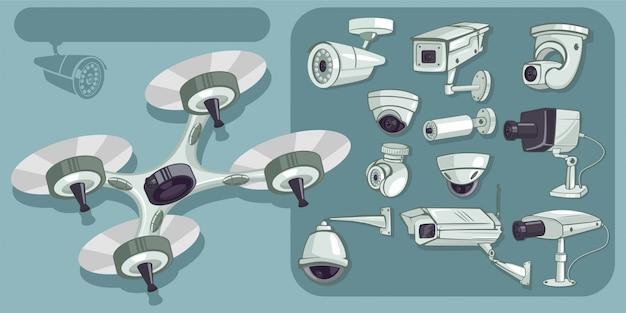 Set di icone vettoriali cctv. telecamere di sicurezza e sorveglianza per proteggere e difendere la casa e l'ufficio. illustrazione del fumetto isolata Vettore Premium