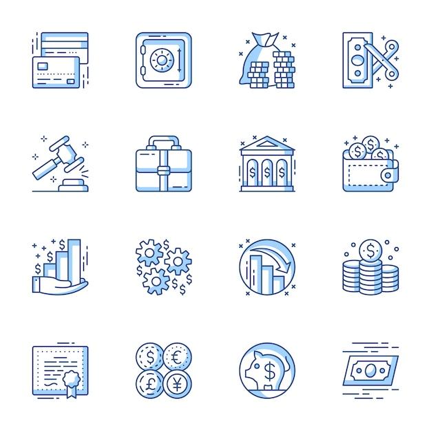 Set di icone vettoriali lineare di servizi finanziari e bancari. Vettore Premium