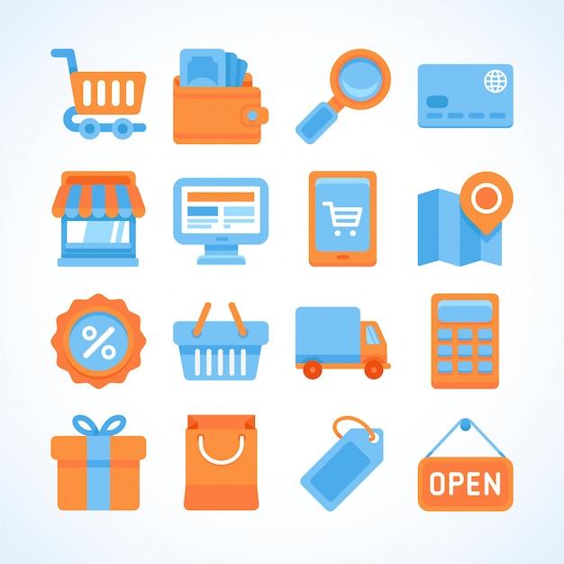 Set di icone vettoriali piatto di simboli dello shopping Vettore Premium