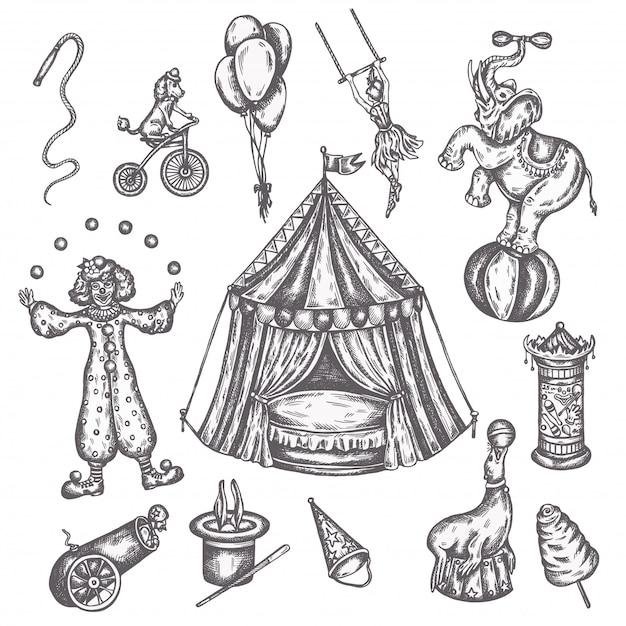 Set di icone vintage circo. schizzo disegnato a mano di animali e divertimento illustrazioni vettoriali di performens Vettore Premium