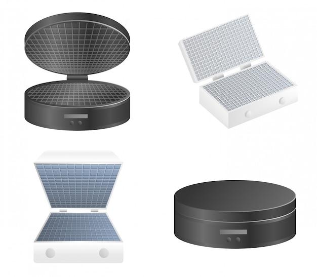 Set di icone waffle-iron, stile realistico Vettore Premium