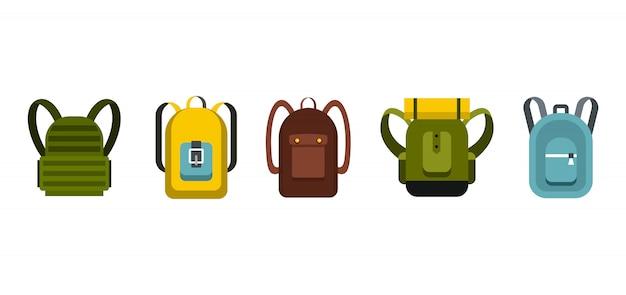 Set di icone zaino. insieme piano della raccolta delle icone di vettore dello zaino isolato Vettore Premium