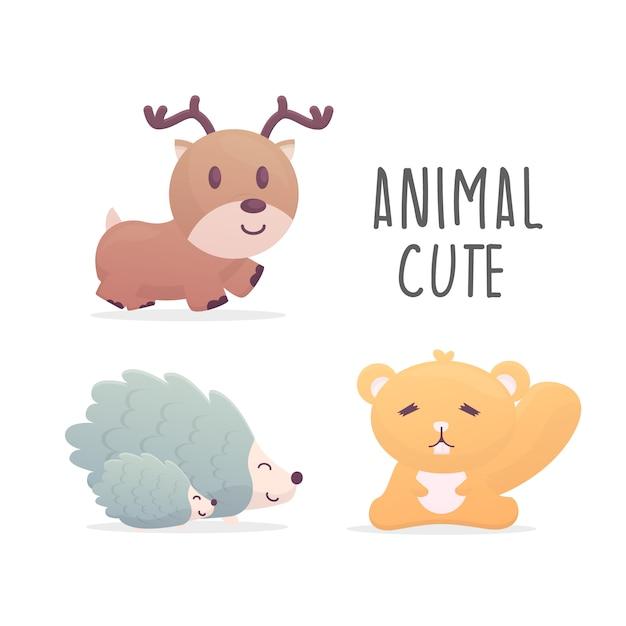 Set di illustrazione animale carino Vettore Premium