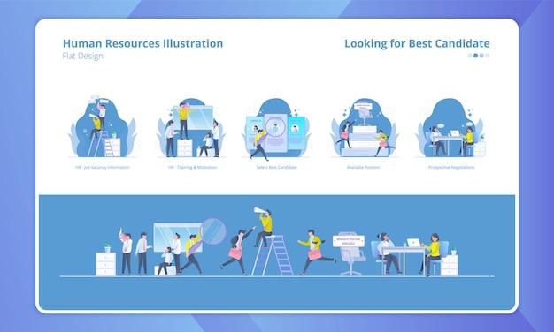 Set di illustrazione con tema delle risorse umane, in cerca del miglior candidato Vettore Premium
