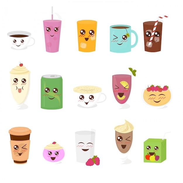 Set di illustrazione di bevande carini in stile cartone animato piatto. tazza di tè, cioccolata calda, latte, caffè, frullato, succo di frutta, frappè, limonata. Vettore Premium