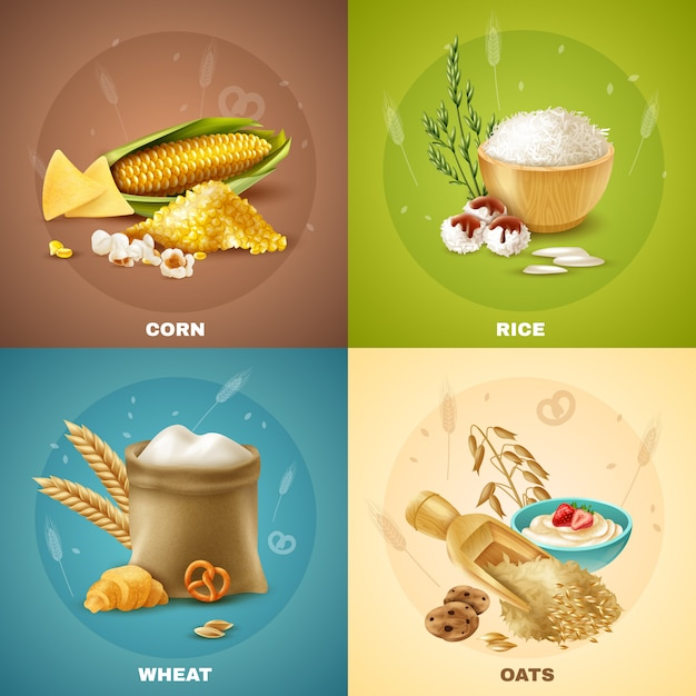 Set di illustrazione di cereali Vettore gratuito