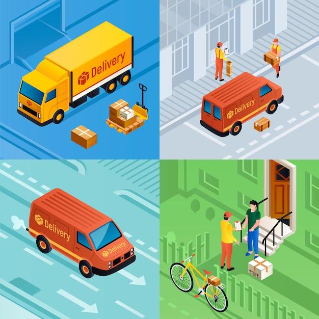 Set di illustrazione di consegna pacchi. set isometrico di consegna pacchi Vettore Premium
