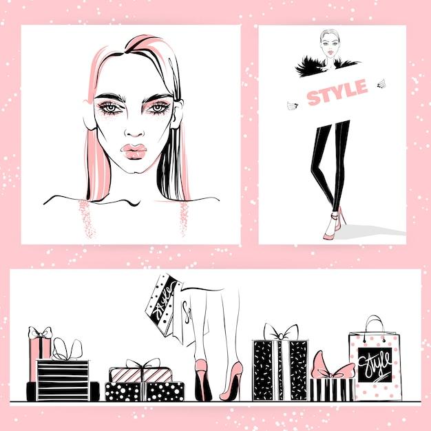 Set di illustrazione di moda. vector ragazze alla moda. Vettore Premium