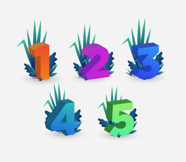 Set di illustrazione di numeri isometrici colorati Vettore Premium