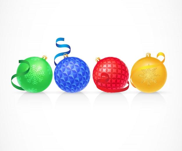 Set di illustrazione di palle di natale Vettore gratuito