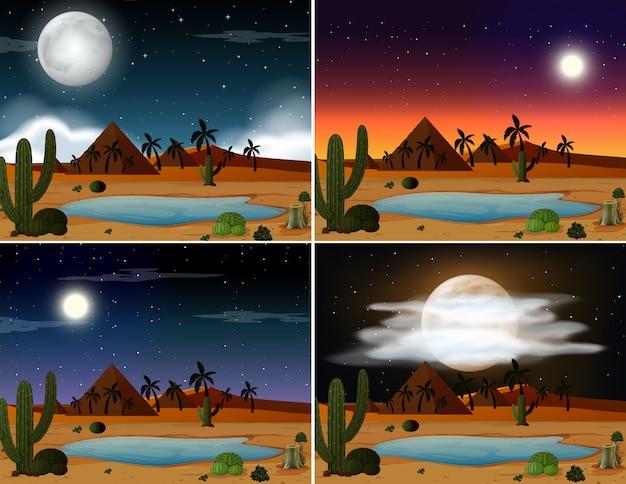 Set di illustrazione di scene del deserto Vettore gratuito