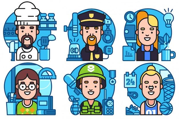 Set di illustrazione icone avatar Vettore Premium