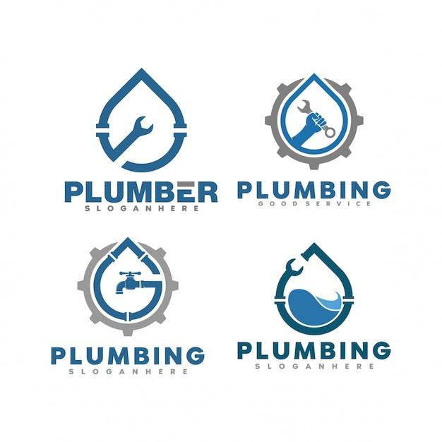 Set di illustrazione logo idraulico Vettore Premium