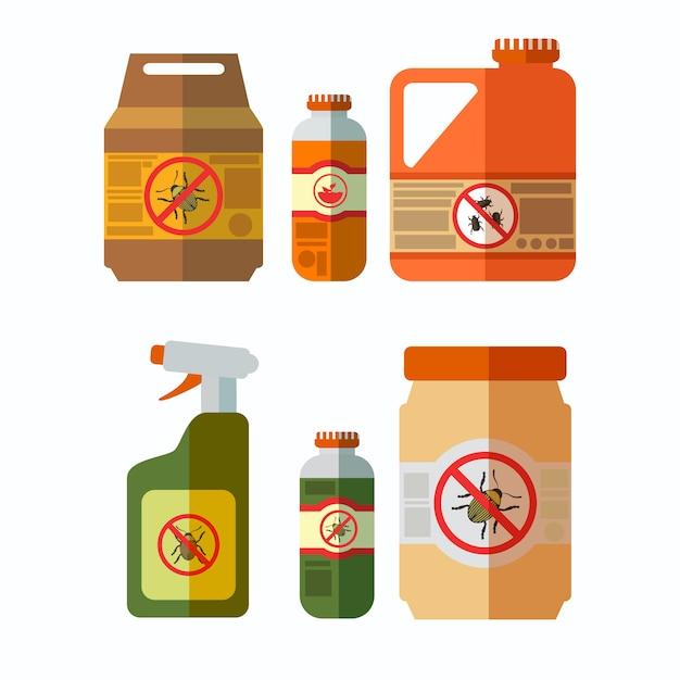 Set di illustrazioni di bottiglie di pesticidi Vettore Premium