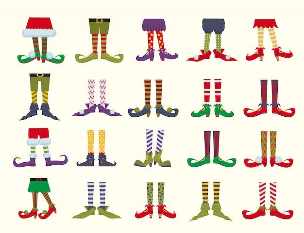 Set di illustrazioni di cartone animato piatto leprechaun piedi Vettore Premium
