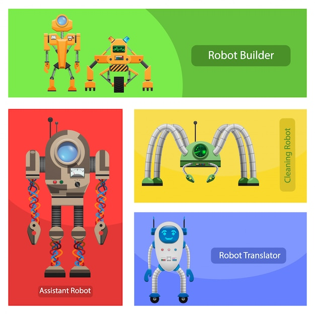 Set di illustrazioni di robot moderni per vari bisogni Vettore Premium