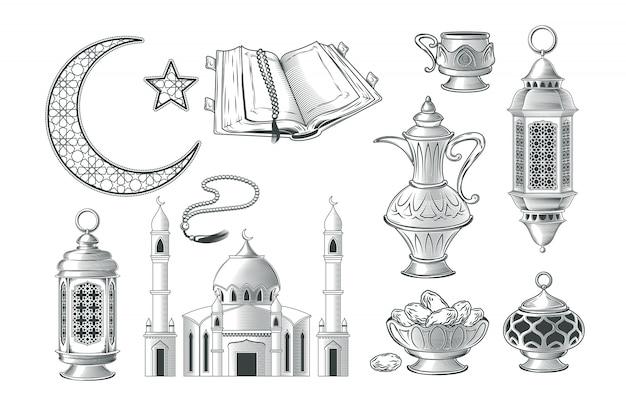 Set di illustrazioni musulmane vettoriali, icone per la preghiera e kareem ramadan nello stile dell'incisione Vettore gratuito