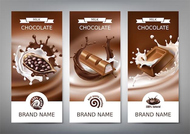 Set di illustrazioni realistiche 3d vettoriale, banner con spruzzi di cioccolato fuso e latte Vettore gratuito