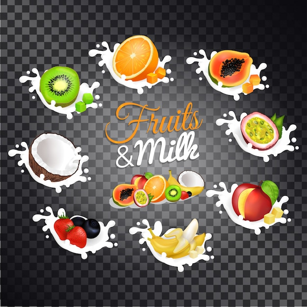 Set di illustrazioni vettoriali di frutta e latte Vettore Premium